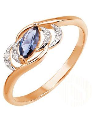 Ring mit 1 Nano Saphir und 8 Zirkonia Steine, Russische Gold 585