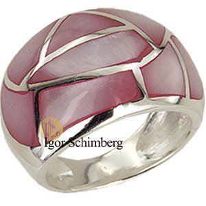 Sterling Silber Ring mit rosafarbenem Perlmutt-Mosaik