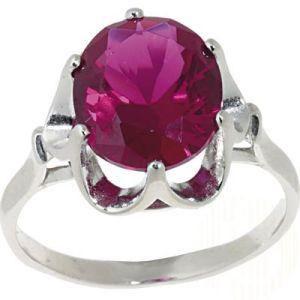 925 Silber Ring mit synthetischem Korund Rubin