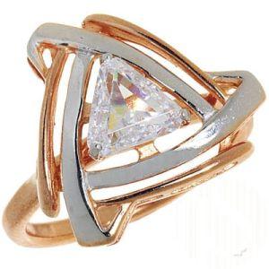 Elegante Ring mit 1 Zirkonia Steinen, Silber, vergoldet