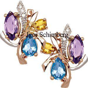 585er Gold, Ohrringe Brillanten, Amethyst, Blau Topas und Citrin