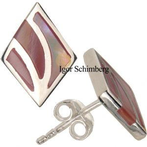 Sterling Silber Ohrstecker mit rosafarbenem Perlmutt-Mosaik