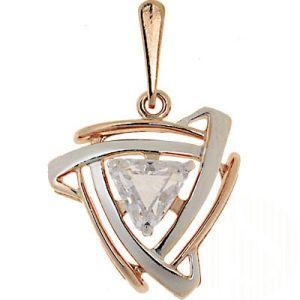 Anhänger mit 1 Zirkonia Stein, Silber 925°, vergoldet 750°
