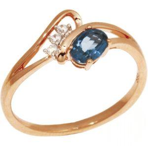 585 Russisches Gold Ring mit Blautopas London und Cubik Zirkonia