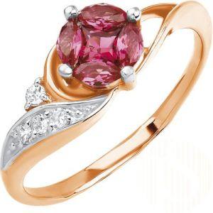 Ring mit 5 Nano Rubine und 4 Cubik Zirkonia, 585-er Russisches Rotgold
